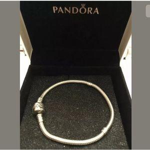 """PANDORA 7.1"""" Charm Bracelet 925 Barrel Clasp w Box"""